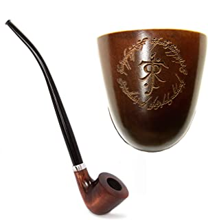 Tobacco Smoking Pipe Engraved Tolkien Symbol in Elvish Ring from Lord of The Rings Long stem Churchwarden Pipe Handmade from pear Wood by KAFpipeWorkshop