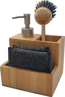 dreamhouse Organiseur d'évier de cuisine en bambou de qualité supérieure et robuste - Évier à vaisselle, support pour épon...