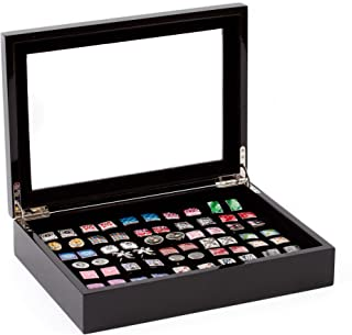 Black Cufflinks and Rings Storage Box/Case (Holds 36 Pairs)