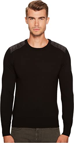 Kerrigan Merino Wool Paneled Crew Neck Sweater
