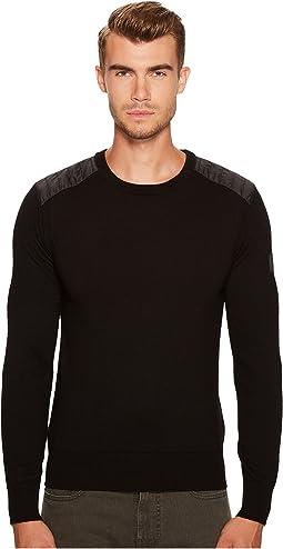 BELSTAFF Kerrigan Merino Wool Paneled Crew Neck Sweater