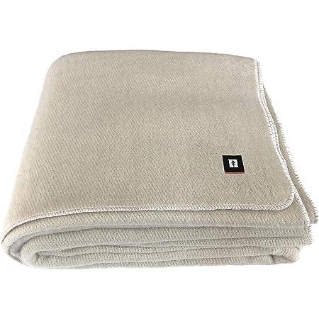 "EKTOS 100% Virgin Wool Blanket, Washable, 5.0 lbs, 66"" x 90"" (Twin Size) - Natural Color"