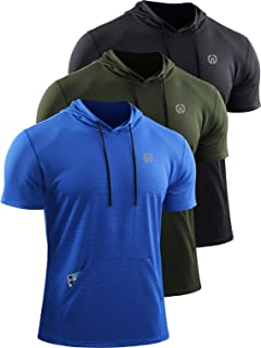 Neleus Men's 3 Pack Running Shirts Mesh Workout Shirts with Hoodie