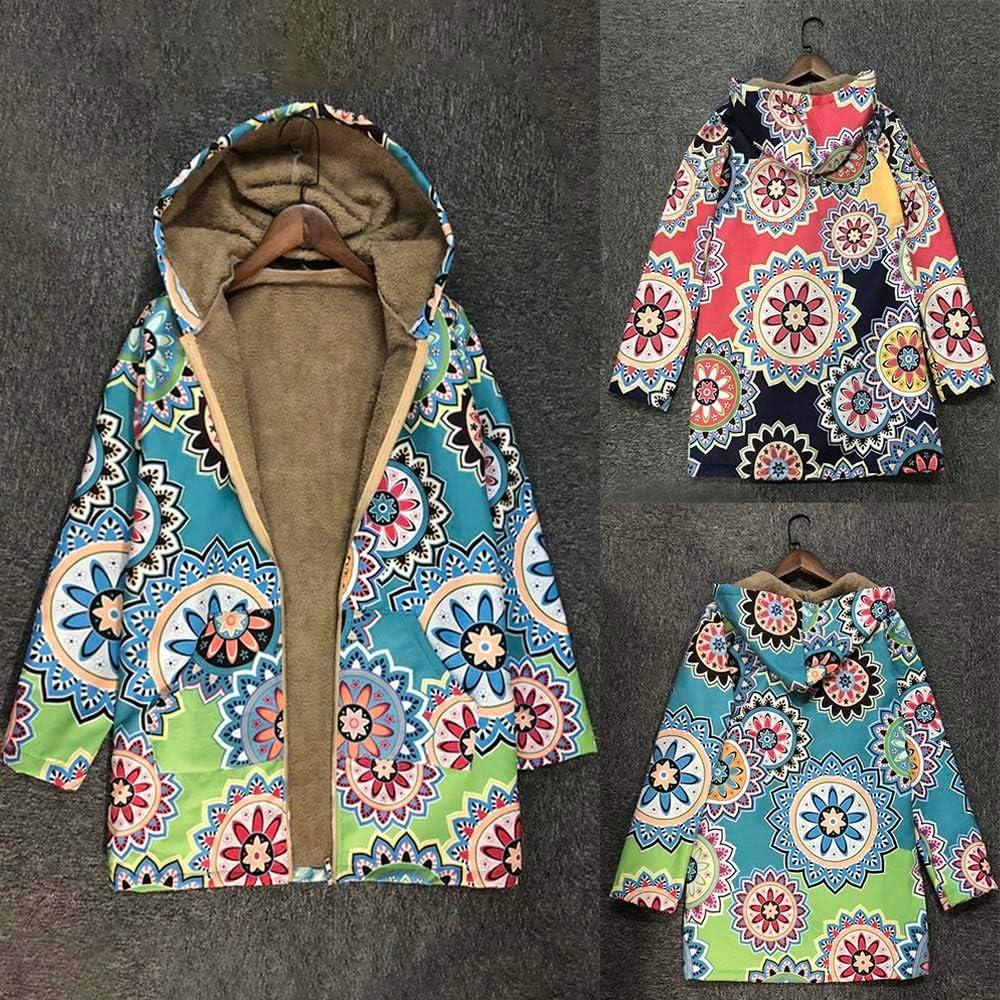 OverDose Damen Winterjacke Windbreaker Wärmemantel Plus Size Damen Kapuzen Causal Slim Soft Langarm Vintage Damen Fleece Dick Coats Zipper Coat Multicolourot