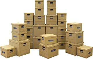 Bankers Box SmoothMove Classic Moving Kit Boxes, Tape-Free Assembly, Easy Carry Handles,)20 Small 5 Medium 5 Large, 30 Pack (7716501 (Renewed)