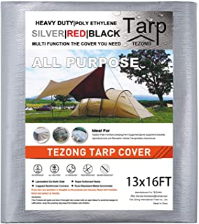 Tarps Heavy Duty Waterproof 13x16ft,TEZONG Poly Tarpaulin Multipurpose Tarp Covers Outdoor Cover Silver 13MIL Thick for Em...
