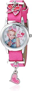 Nickelodeon Girls' Analog-Quartz Watch with Leather-Synthetic Strap, Pink, 12 (Model: JOJ5002)