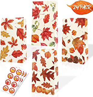 Faisichocalato Autumn Leaves Bags Fall Theme Party Favor Bags Maple Leaf Treat Candy Bags Thanksgiving Pumpkin Baby Shower Birthday Fall Bridal Shower Wedding Supplies 24 Pack