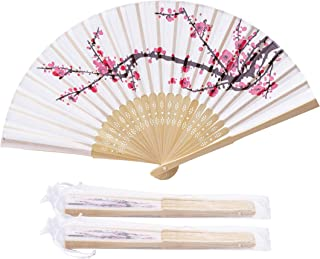 Sepwedd 50pcs Delicate Plum Blossom Blossom Design Imitated Silk Fabric Bamboo Folded Hand Fan Bridal Dancing Props Church Wedding Gift Party Favors with Gift Bags