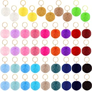 46 Pieces Pom Poms Keychains Faux Fur Ball Key Rings Fluffy Rabbit Faux Fur Pompoms Keyring for Women Girls Bag Accessories