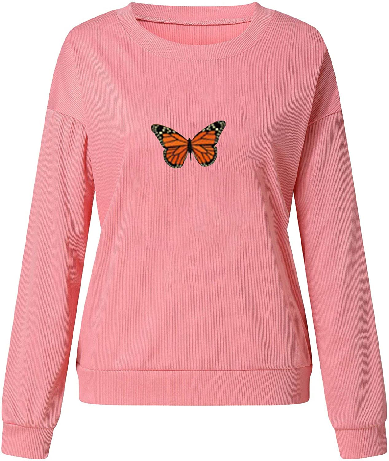 Hubl Women's Fashion Solid Color Butterfly Print Sweater Long Sleeves Tops