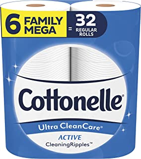 Cottonelle Ultra CleanCare Strong Toilet Paper with Active Cleaning Ripples, 6 Family Mega Rolls, Bath Tissue (6 Family Me...