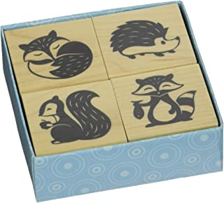 Inkadinkado Woodland Critters Mounted Rubber Stamp Set, 4 pc