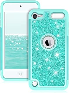 Dailylux iPod Touch 6 Case,iPod Touch 7 Case,iPod Touch 5 Cases,Glitter Bling Girls Women Dual Layer Heavy Duty Impact Protective Phone Case for Apple iPod Touch 5/6/7th Generation,Green