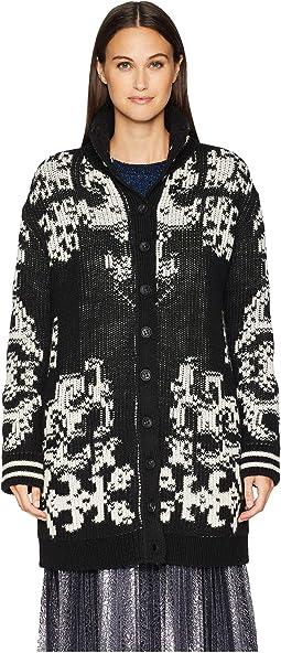Wool Yarn Stencil Intarsia Bomber Jacket