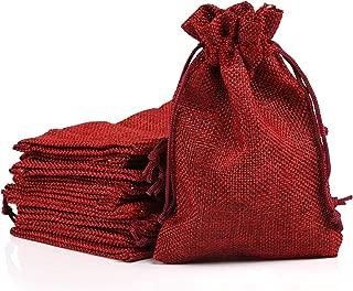 Naler Christmas Drawstring Gift Bags Drawstring Pouch Burlap Wedding Favor Gift Bag Red, 24Pcs