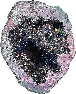 Top Plaza Natural Rock Crystal Quartz Titanium Coated Reiki Healing Crystal Geode Druzy Mineral Specimen Decoration(Rainbow Color)