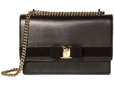Salvatore Ferragamo New Vara Medium Crossbody (Nero) Handbags
