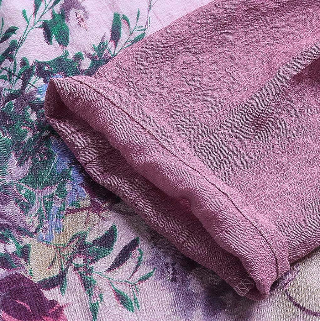 iHENGH Damen Sommer Bequem Mantel Lässig Mode Jacke Frauen mit Langen Ärmeln Vintage Floral Print Patchwork Bluse Spitze Splicing Tops C Wein