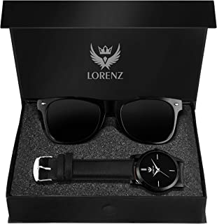 Lorenz Analogue Black Dial Men's Watch & Black Sunglasses Combo (CM-103SN)