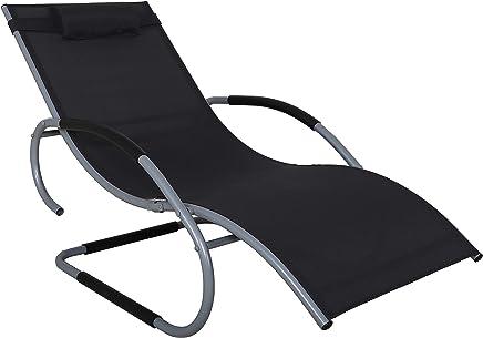 Chicreat 秋千躺椅 花园躺椅 铝制躺椅 黑色/银色 超宽躺椅 (66 cm)
