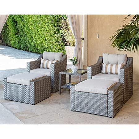 Solaura 5 Piece Sofa Outdoor Furniture Set Wicker Lounge Chair Ottoman With Neutral Beige Cushions Glass Coffee Side Table Gray Garden Outdoor