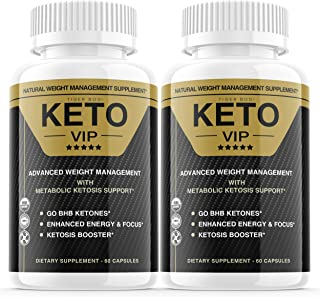 (2 Pack) Keto VIP Diet Pills, Keto VIP Advanced Weight Loss Formula Supplement As Seen on TV, Exogenous Ketones for Rapid ...