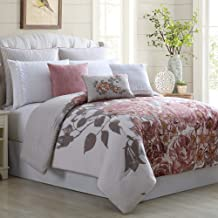 Amrapur Overseas Farmhouse 8-Piece Embellished Comforter Set, Queen, Off-White/Rose
