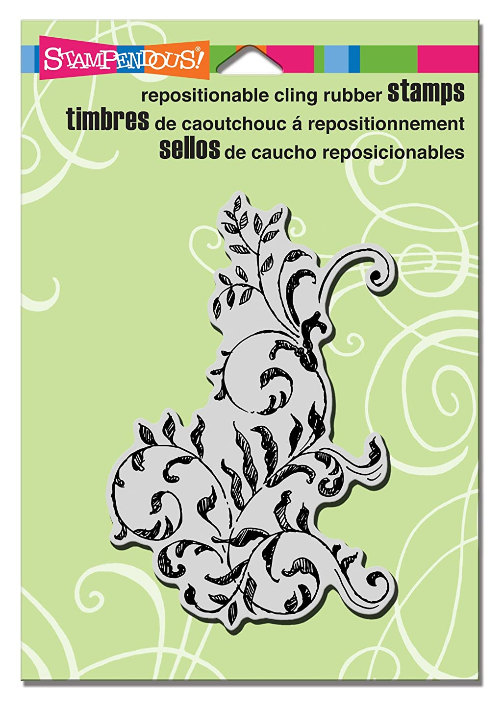 STAMPENDOUS Cling Rubber Stamp, Scrollwork Leaves