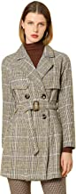 Allegra K Women's Double Breasted Raglan Sleeve Belted Plaid Trench Coat