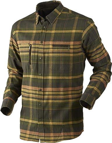 Härkila Camisa de caza Eide de de algodón a cuadros para hombre, manga larga, de franela, para senderismo y trekking