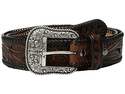 Ariat Tapered Floral Pierced Belt (Black/Brown) Men