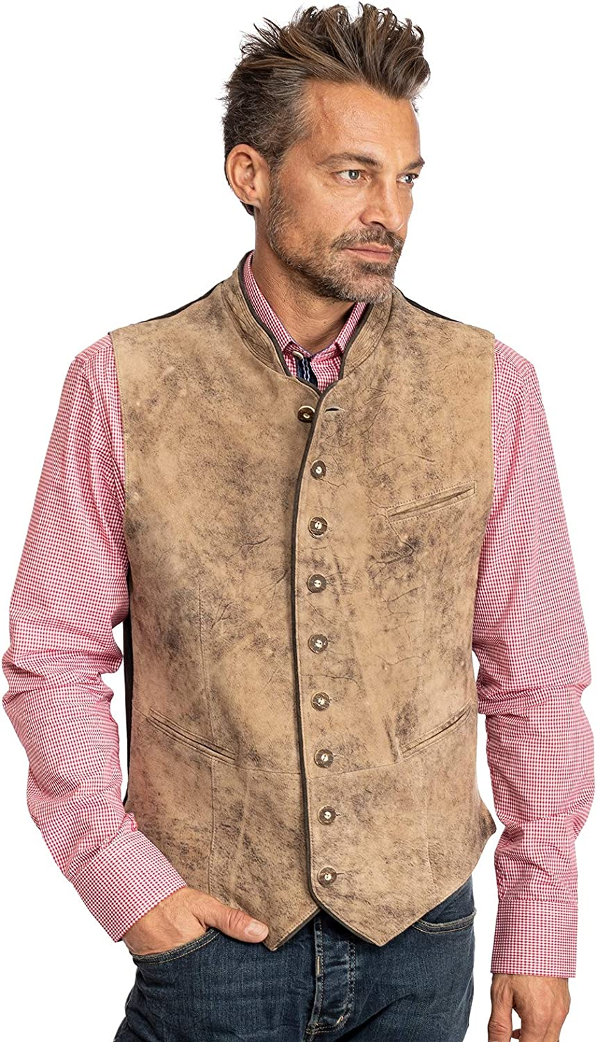 Maddox Traditional Leather Vest HACKENSEE - Metis Stone