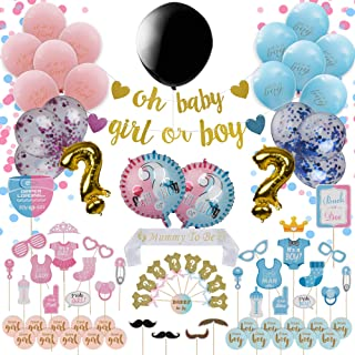 94-Piece Gender Reveal Party Supplies Kit By Sweet Serenity | Cute Gender Revealing Decorations Set For Baby Shower | Exciting Boy & Girl Balloons With Confetti, Photo Props, Banners, Stickers & More