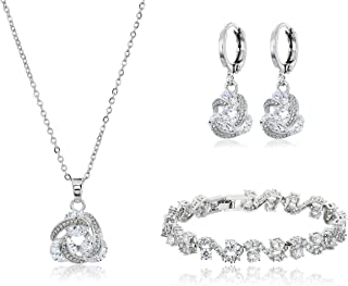 Jewelry Sets for Women - Premium Wedding Jewelry Sets - Bridal Jewelry Set with Necklace and Earring for Bride - Cubic Zirconia Bridesmaid Jewelry - Formal Event Costume Jewelry