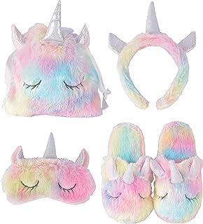 Unicorn Sleeping Mask + Unicorn Slipper + Unicorn Bags + Unicorn Horn Headband | Unicorn Sleeping Set for Kids Sleeping Party | Teens Girls Women Plane Travel Nap Night Sleeping | Unicorn Sleep over p