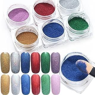 Pure Vie 6 Boxes 1g Nail Glitter Shinning Mirror Chrome Nail Powder Manicure Pigment Set