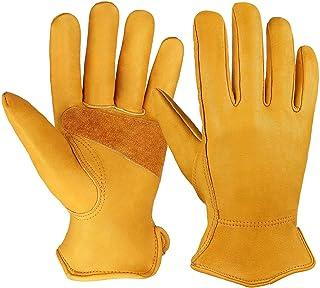 OZERO 3 Pairs Flex Grip Leather Working Gloves Stretchable Wrist Tough Cowhide Work Glove..