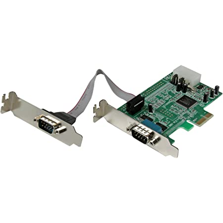 DB9 Serial//RS232 Port PCI Express XM-PEX-2S PCIe x1 16C550//16C552//16C554 and 16C750 UART 2 X-MEDIA Dual Adapter Card Low Profile Bracket Included