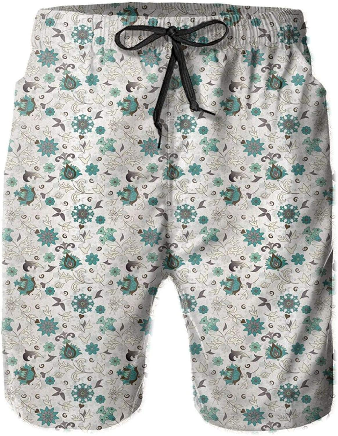 Composition of Flowers with Heart Shaped Leafs Blooming Nature Mens Swim Shorts Casual Workout Short Pants Drawstring Beach Shorts,L