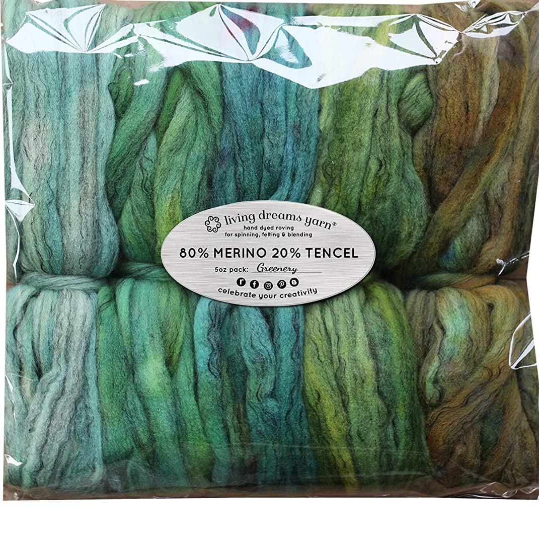 Hand Dyed Merino Tencel Spinning Fiber. Super Soft Wool Top Roving drafted for Hand Spinning, Felting, Blending and Weaving. 5 Beautifully Colored Mini Skeins Discount Pack, Greenery
