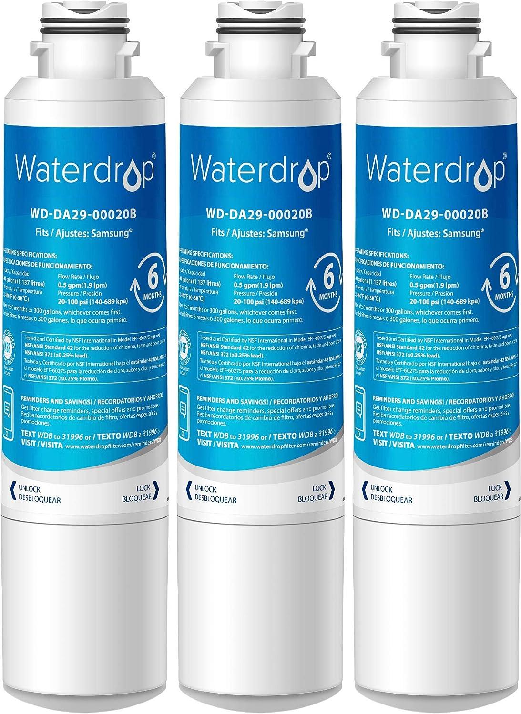 Waterdrop DA29-00020B K/ühlschrank Wasserfilter Ersatz DA29-00019A Kompatibel mit Samsung DA29-00020B HAF-CIN//EXP DA97-08043ABC 3 HAFCIN DA97-08006A DA29-00020B-1 DA29-00020A Kenmore 46-9101