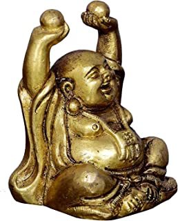 shivshakti global store Vintage Laughing Buddha Statue in Solid Brass Metal: Harbinger of Wisdom and Wealth - Use as Home Decor Showpiece for Feng-Shui, Golden Finish