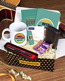 Congratulatory Birthday Gift for Brother, Boys, Men 7 in 1 by Salvodor (For Him - Gold Box, World Best Bro)