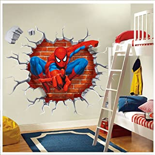 NOMSOCR 3D Wall Stickers, Vinyl Stickers DIY Family Decor Wall Art for Kids Living Room Bedroom Bathroom Tile Office Home Decoration (Spider Man)