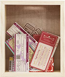 8x10 Natural Color Ticket Shadow Box - Top Loading - Frame for Memorabilia - Raffle Ticket Stub Holder/Collector Decoration - Wall Display/Self-Standing - Linen Lined Swivel - Tab Back (8x10, Natural)
