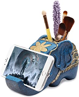 Pen Pencil Holder with Phone Stand, Roiroiko Resin Shaped Pen Container Cell Phone Stand Carving Brush Scissor Holder Desk...