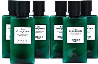 Six (6) Hermès Eau d'Orange Verte Luxury Body Lotion/Lait Pour Le Corps White Label in Bubble Bag - Set of 6 X 1.35 Ounce/40 ML Bottles, Total 8.1 Ounce/240 ML