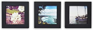 Golden State Art, Smartphone Instagram Frames Collection, Pack of 3, 4x4-inch Square Photo Wood Frames, Black