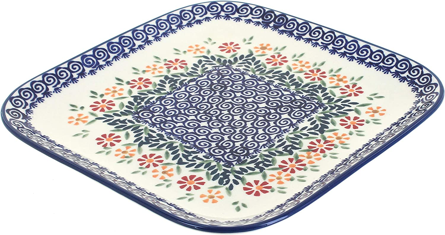 Blue Rose 1 year warranty Polish Pottery Garden Bouquet Plate Large Square Portland Mall